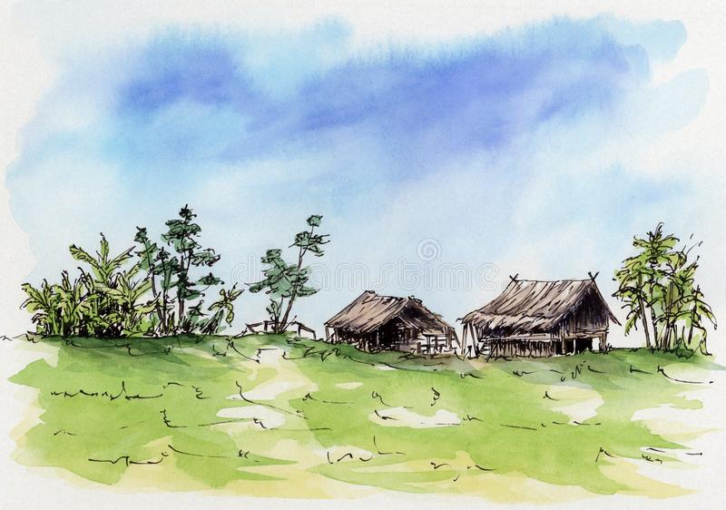 Thai village. Loose sketch. Ink and watercolor on cardboard stock illustration