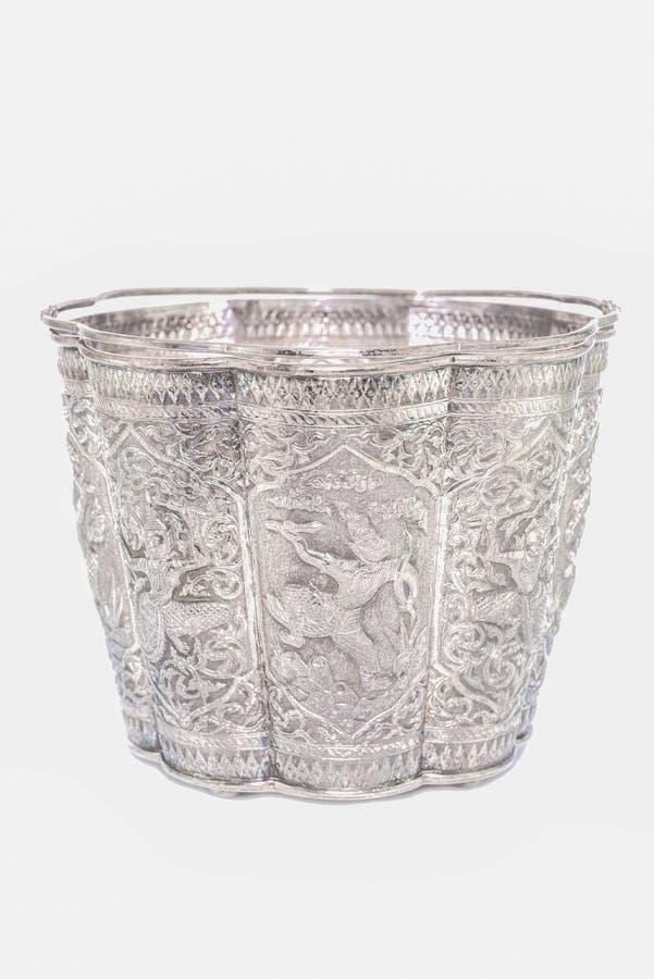 Thai vintage silverware bucket on white royalty free stock photos