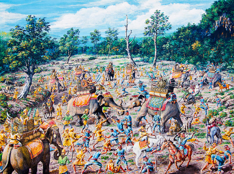 Thai war by oil painting. Thai war background royalty free stock photography