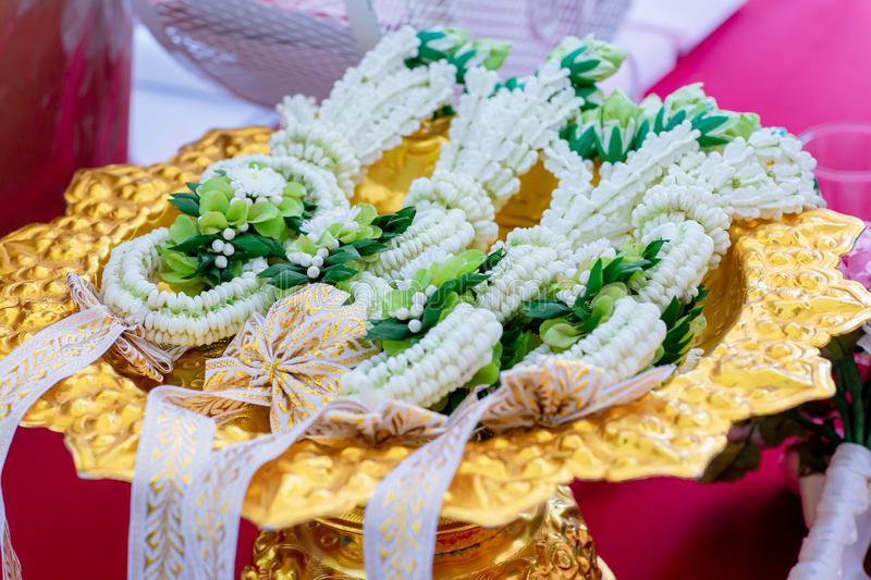 Thai wedding flower garland for bride and groom in wedding ceremony day.  royalty free stock photo