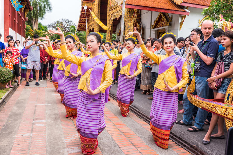 Thai woman dancer. CHIANG MAI, THAILAND - APRIL 13: Unidentified Thai woman dancer in Phrasing temple in Songkran Festival (Thailand new year) on April 13,2015 royalty free stock photo