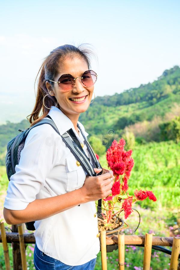 Thai woman at Doi Mon Cham. Chiang Mai province royalty free stock photos