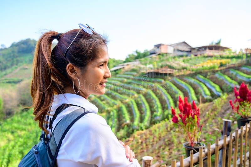 Thai woman at Doi Mon Cham. Chiang Mai province royalty free stock photography