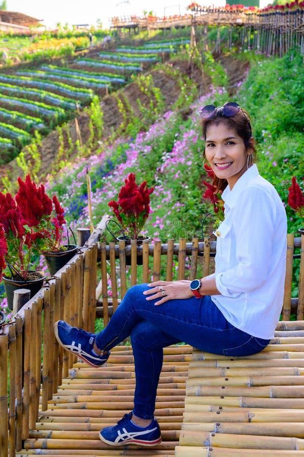 Thai woman at Doi Mon Cham. Chiang Mai province stock image