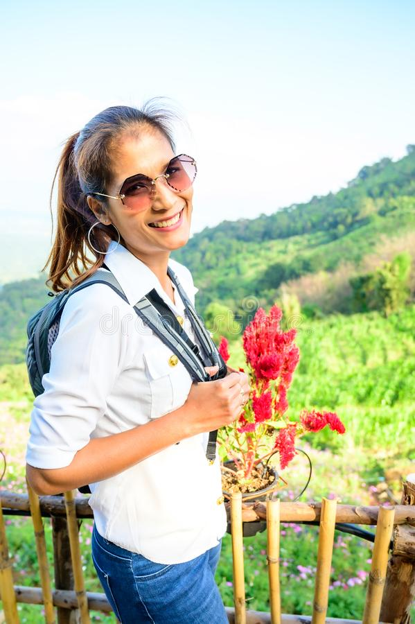 Thai woman at Doi Mon Cham. Chiang Mai province royalty free stock image
