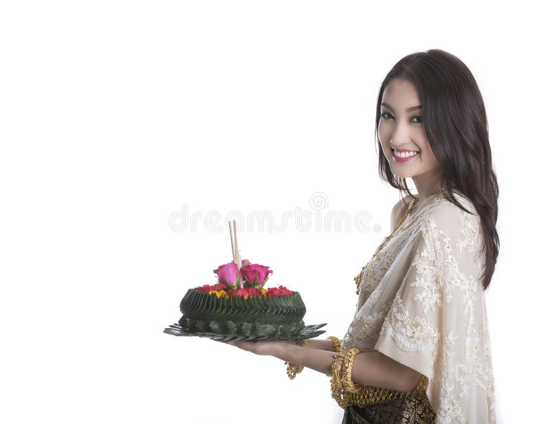 Thai woman hold kratong stock photos