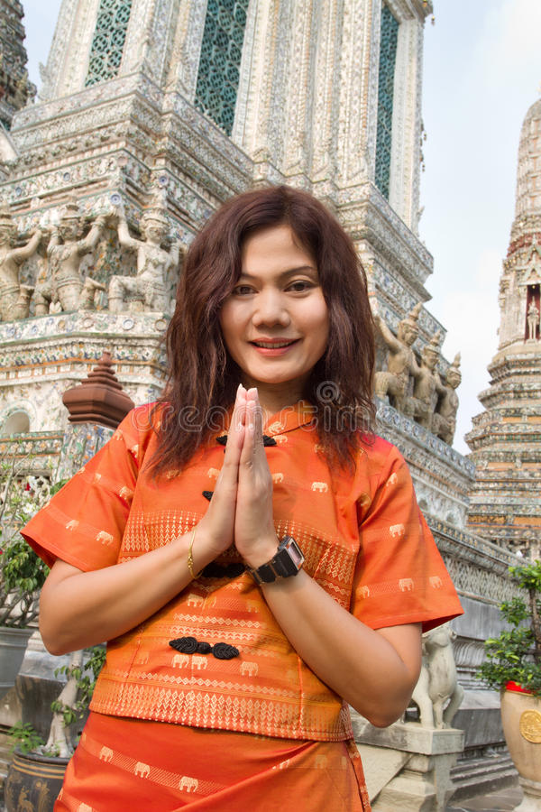 Thai Woman Praying Stock Photo