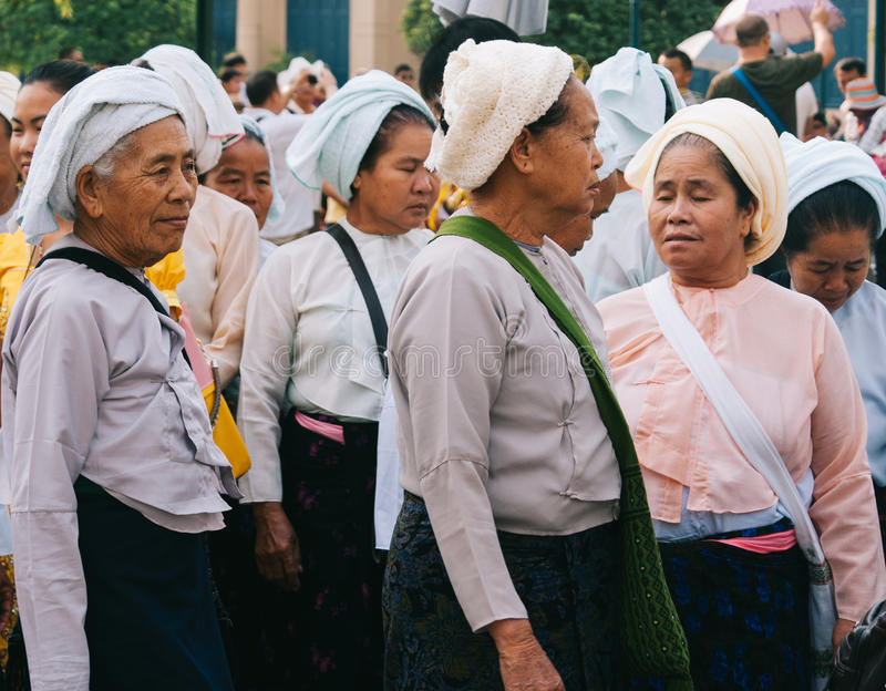 Thai Women. Group of old Thai woman wearing traditional outfits