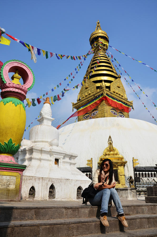 Free Thai Women In Swayambhunath Temple Or Monkey Temple Royalty Free Stock Image - 41900536