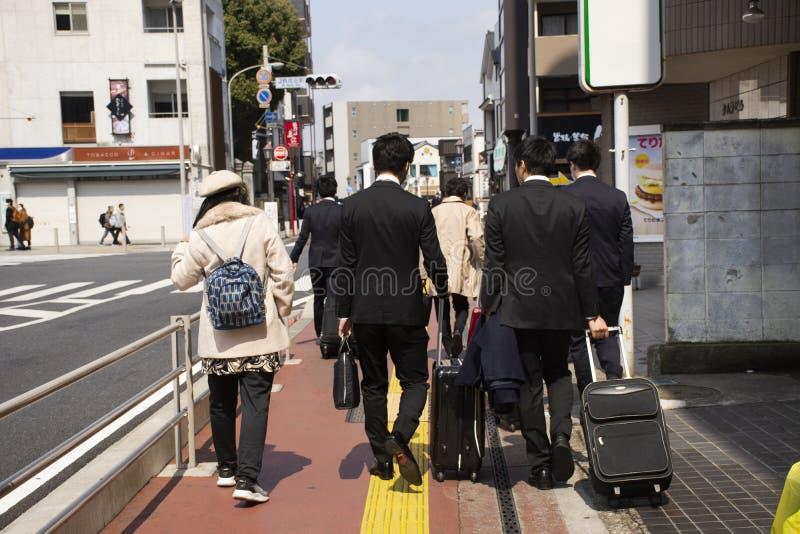 Thai women and japanese people and businessman walking at Naritasan Omote Sando or Narita old town at Chiba in Tokyo, Japan royalty free stock image