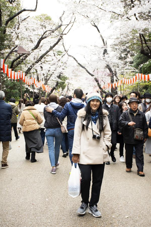 Thai women posing portrait for take photo with japanese people and foreign travelers walk looking sakura at Ueno in Tokyo, Japan. Thai women people posing royalty free stock images