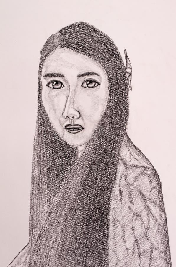 Thai women portrait painting. By pencil stock images