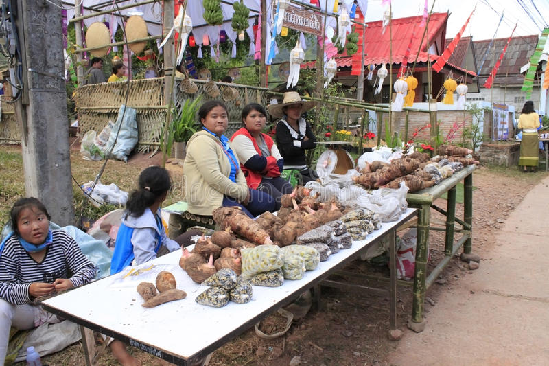 Thai women sell the vegetable in the market royalty free stock image