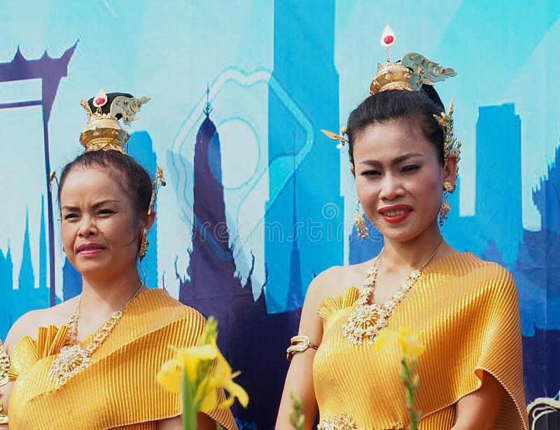 Thai Women In Traditional Dress stock image