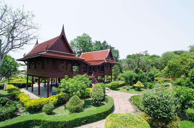 Thai wooden house stock photography
