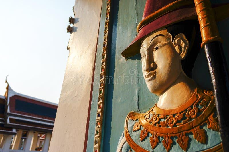 Thai Wooden Sculpture soldier stock images