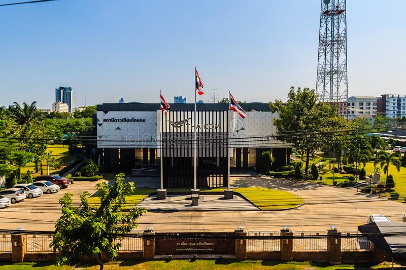 Thaicom satellite control center building, located in Nonthaburi. Thaicom is the name of a series of communications satellites ope. Nonthaburi, Thailand - March royalty free stock photos
