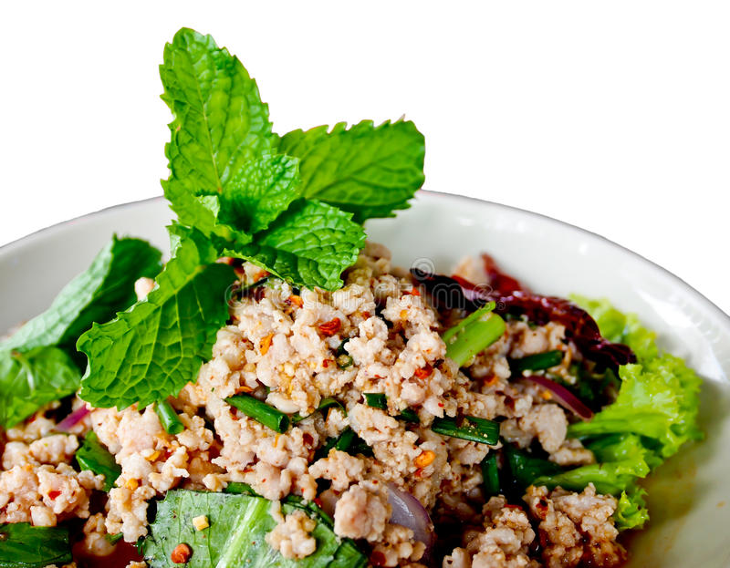 Thaifood called Lab, spicy minced pork with herb royalty free stock photos