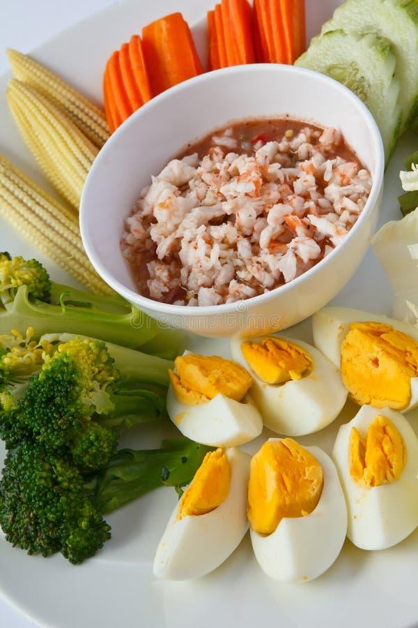Thaifood, mergulho picante do camarão foto de stock
