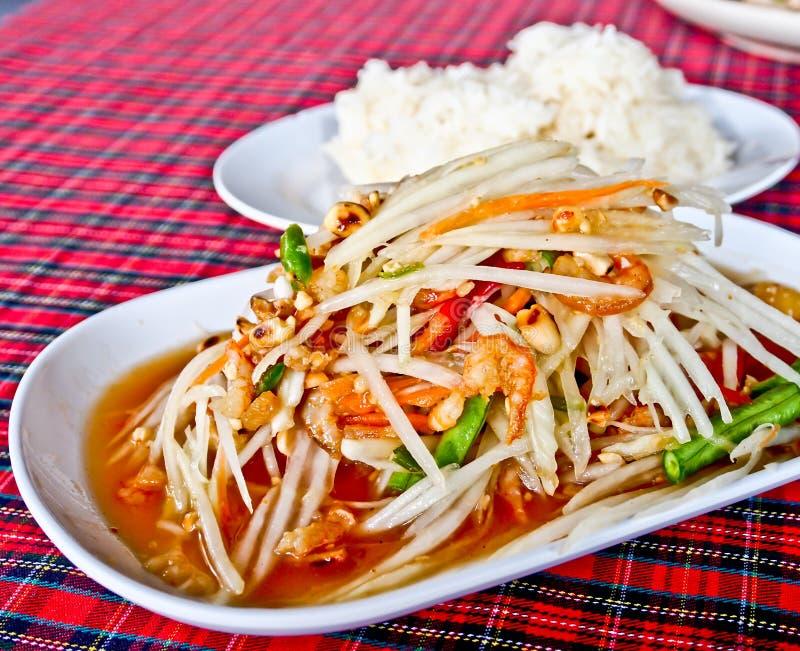 Thaifood, salada picante da papaia chamou Somtum 2 fotos de stock