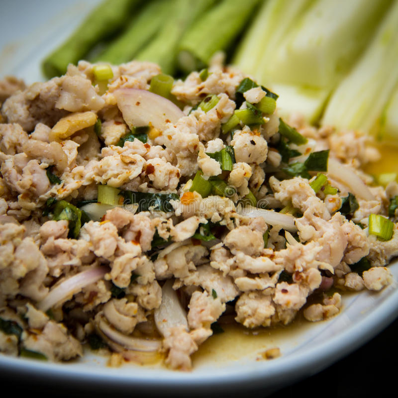 Thaifood. Spicy minced pork with herb royalty free stock photo