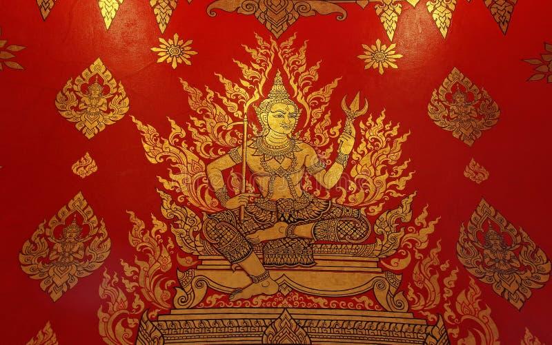 Thailändische Artmalereikunst alt auf Tempelwand stockfoto