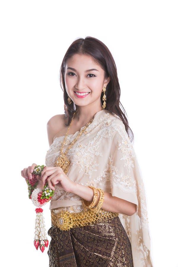 Thailändische Dame in der Weinlesevorlage Thailand stockfotos