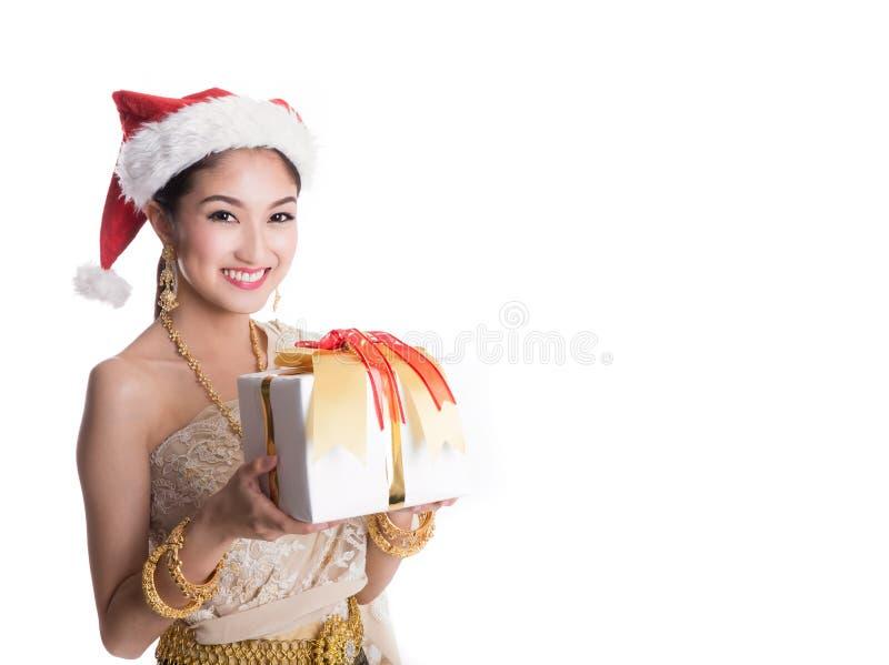 Thailändische Dame in Weinlese ursprünglicher Thailand-Kleidung stockfotografie