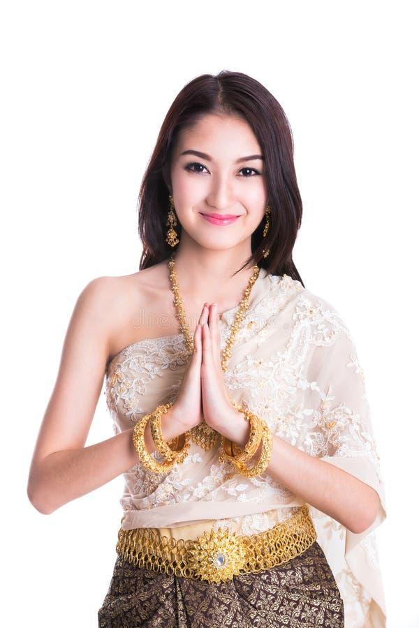 Thailändische Dame in Weinlese ursprünglicher Thailand-Kleidung lizenzfreie stockfotos