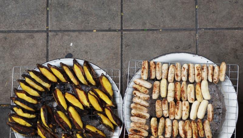 Thailändische gegrillte Bananen stockbilder
