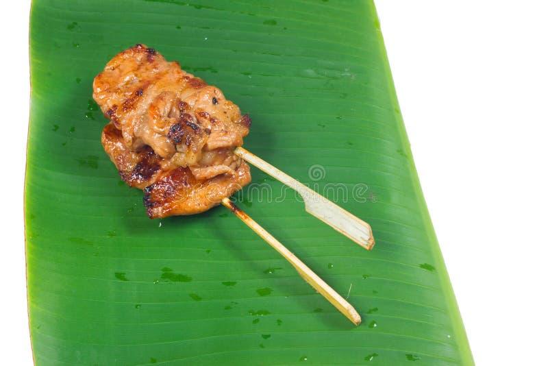 Thailändische Küche, gebratener Schweinefleischstock, Grillschweinefleisch stockbild