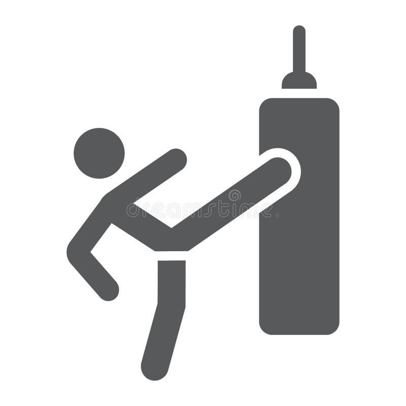 Thailändische Kampf Glyphikone, Training und Boxer, boxendes Zeichen, Vektorgrafik, ein festes Muster auf einem weißen Hintergrun vektor abbildung