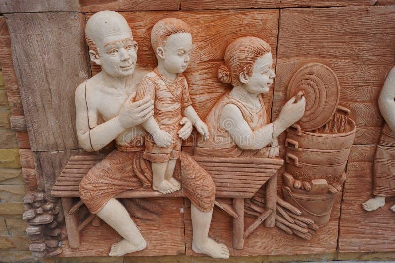Thailändische Kultur auf der Wand lizenzfreie stockbilder