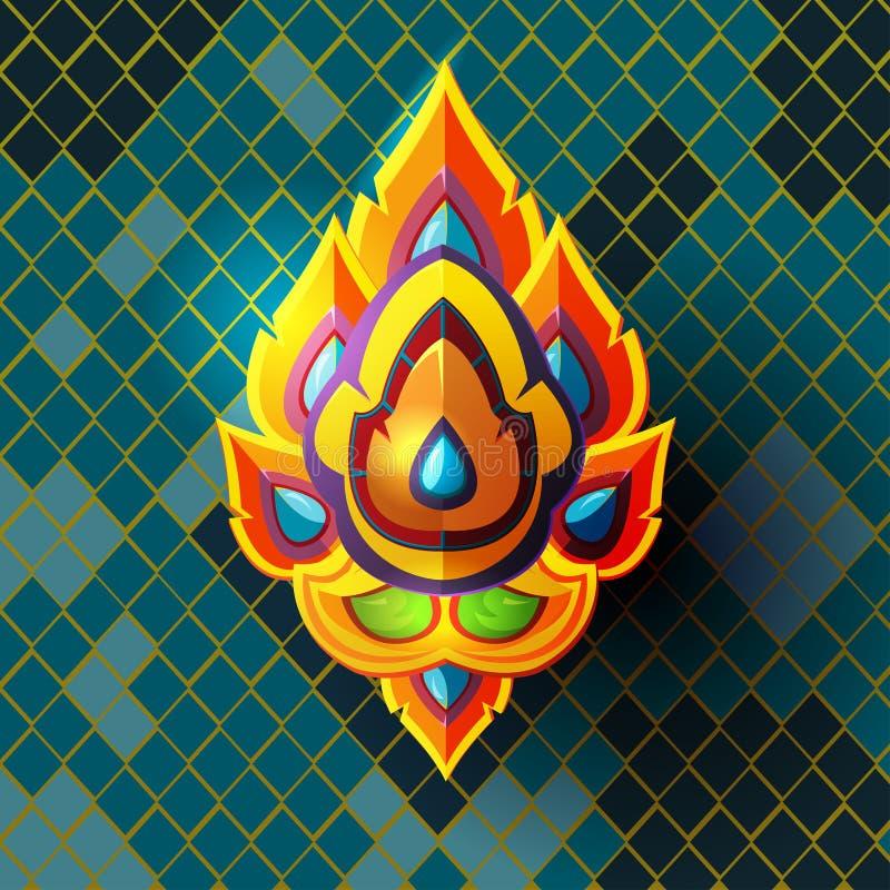 Thailändische Kultur-Zusammenfassung Art Style Vector lizenzfreie abbildung