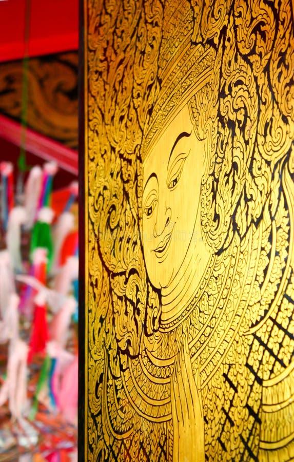 Thailändische Kunst, die Engelsfarbe lizenzfreies stockfoto