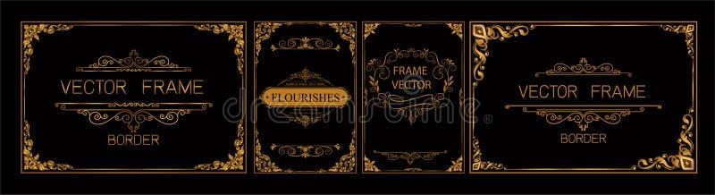 Thailändische Kunst, Goldgrenzrahmen mit Thailand-Linie mit Blumen für Bild, Vektordesigndekorations-Musterart Rahmeneckendesign  vektor abbildung