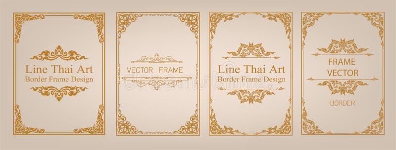Thailändische Kunst, Goldgrenzrahmen mit Thailand-Linie mit Blumen für Bild, Vektordesigndekorations-Musterart Rahmeneckendesign  stock abbildung