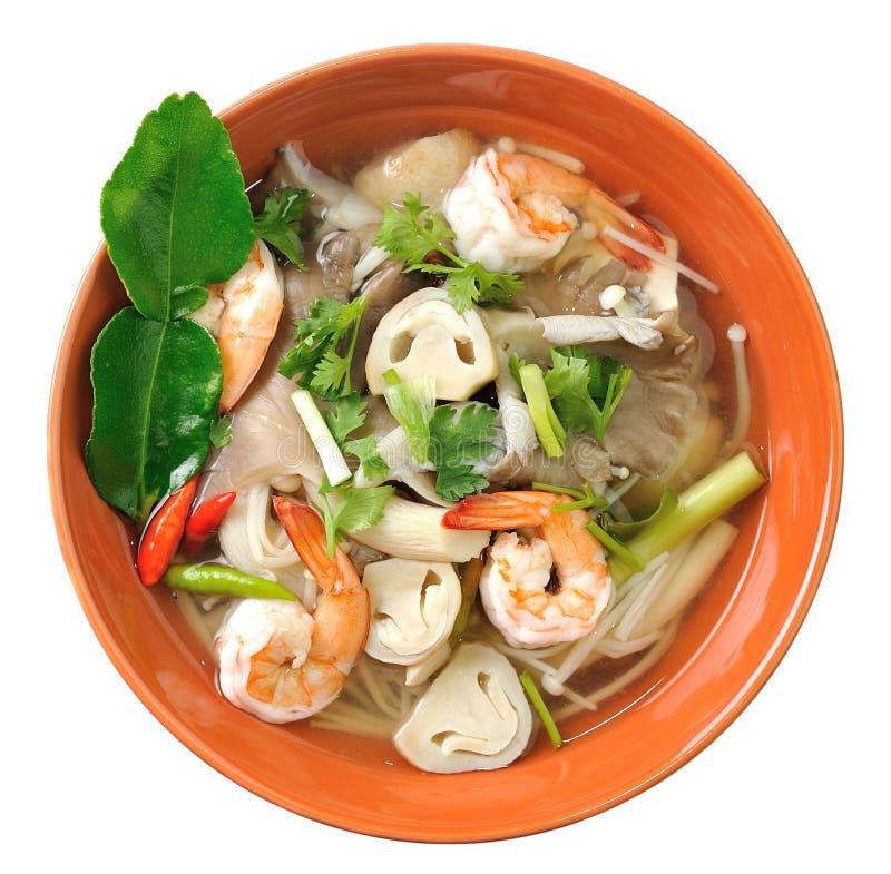 Thailändische Lebensmittel-Garnelensuppe mit Pilzen lizenzfreies stockbild