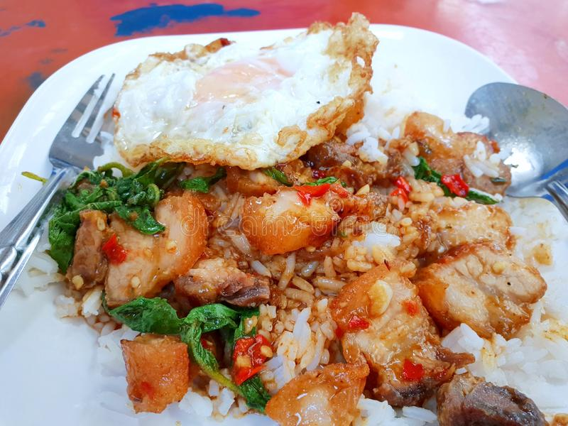 Thailändische Nahrungsmittelart, Reis überstieg mit Aufruhr gebratenem knusperigem Schweinefleisch mit heiligen Basilikumblättern stockfoto