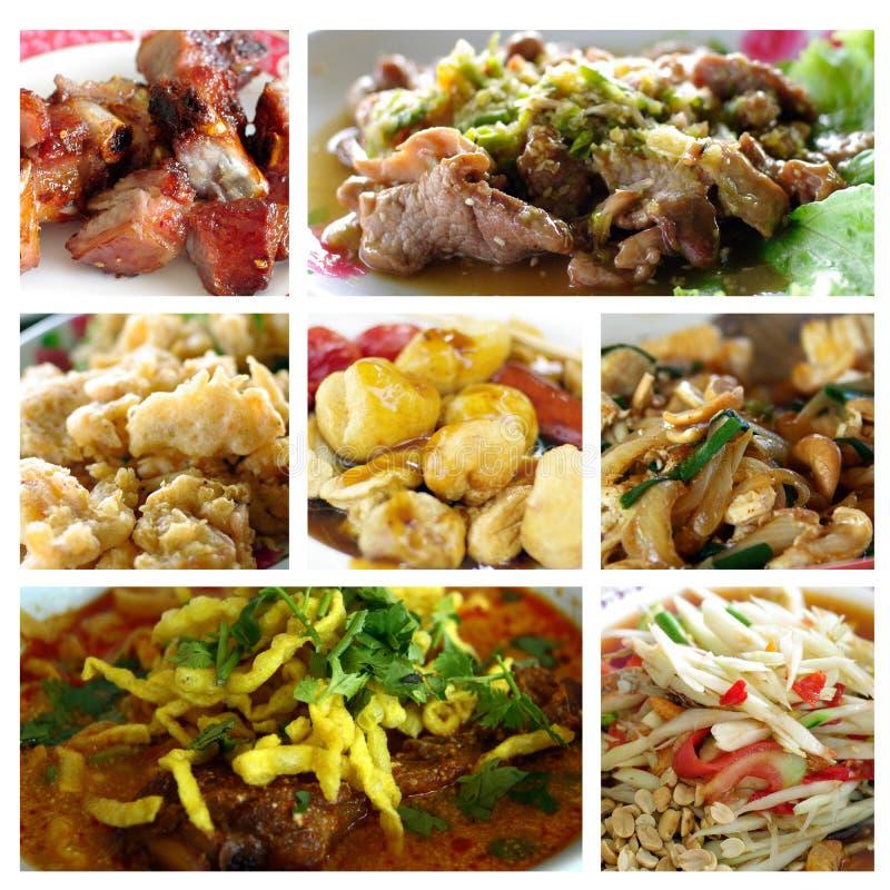 Thailändische Nahrungsmittelcollage lizenzfreies stockfoto