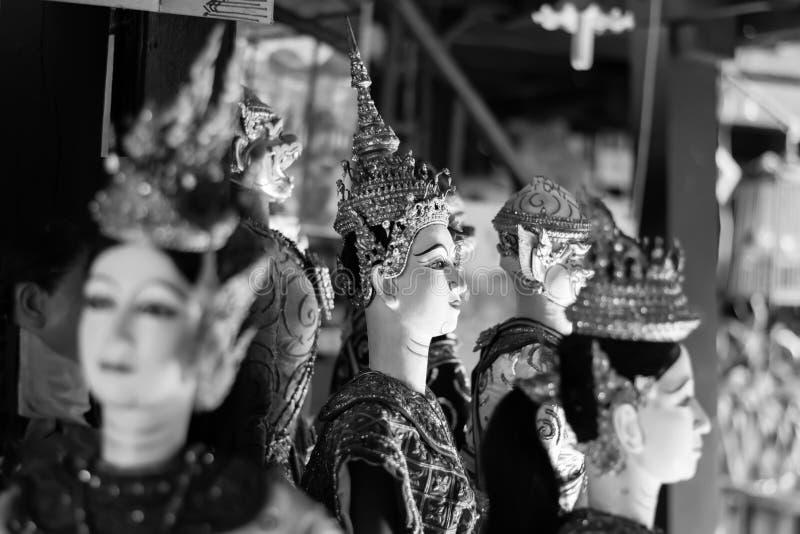 Thailändische Schwarzweiss-Marionette lizenzfreie stockfotos