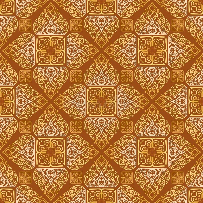 Thailändische traditionelle Blume im nahtlosen Muster Diamantquadratform Verzierung vektor abbildung