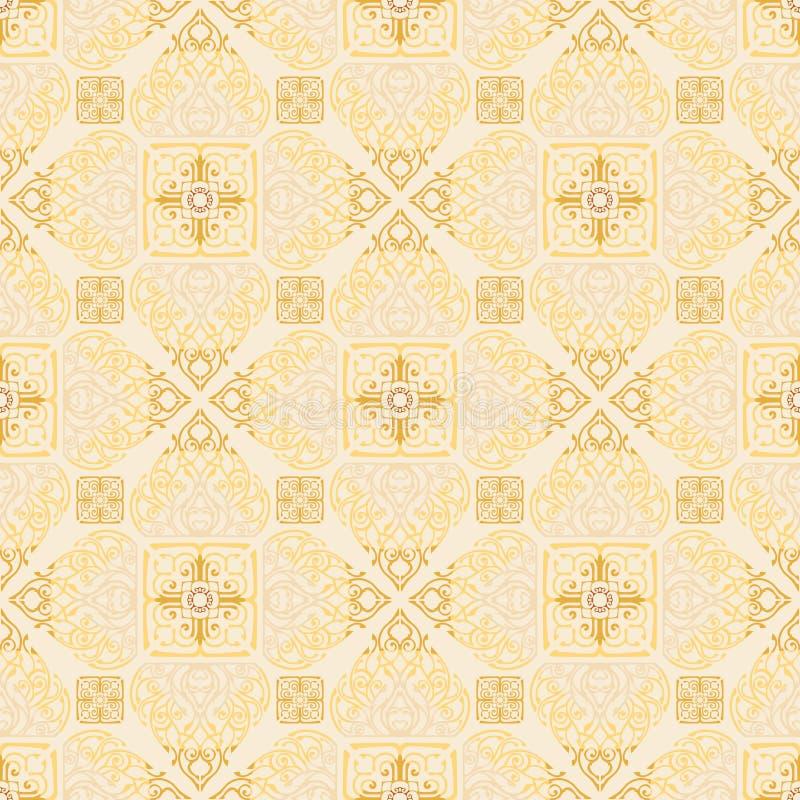 Thailändische traditionelle Blume im nahtlosen Muster Diamantquadratform Verzierung stock abbildung