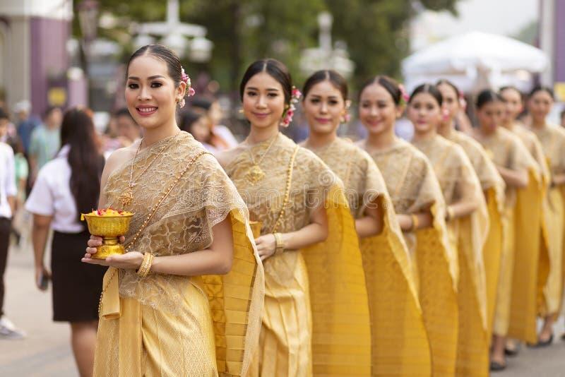 Thailändische traditionelle Tänzergruppe stockfotos