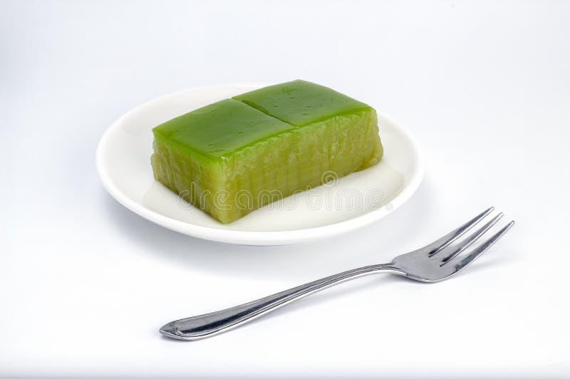 Thailändische Traditionsnachtisch-Schichtbonbons backen, süßer Kuchenname der thailändischen süßen multi Schicht ist Kanom Chan z stockfotografie