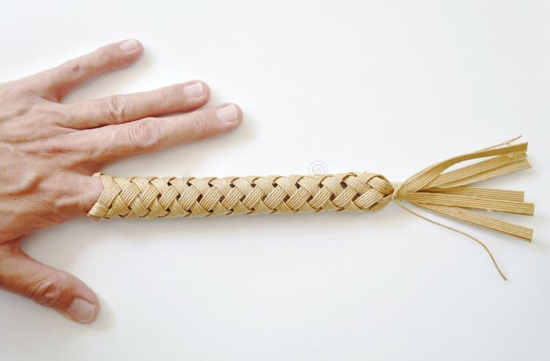 Thailändische Volksklugheitsspielzeugausrüstung, indem sie fest Finger in Loch einsetzen und Erschütterung für schützen Triggerfi stockfotografie