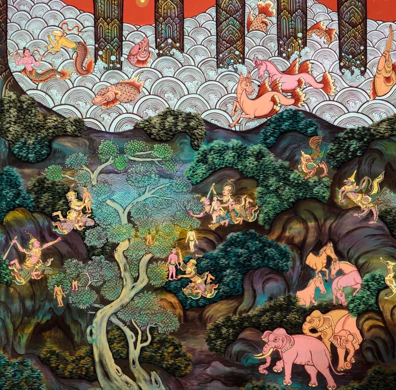 Thailändische Wandmalereikunst stockfoto
