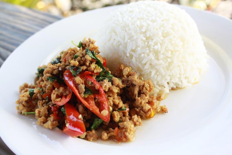 Thailändischer Artaufruhr briet würziges gehacktes Schweinefleisch mit Basilikum und Paprika diente mit gedämpftem Reis lizenzfreie stockfotos