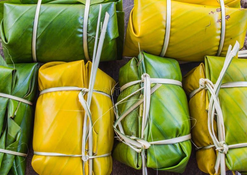 Thailändischer Artnachtisch, gemacht von der Banane stockbild