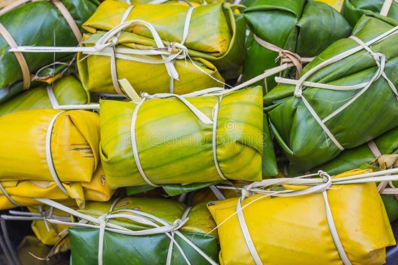 Thailändischer Artnachtisch, gemacht von der Banane stockfotos